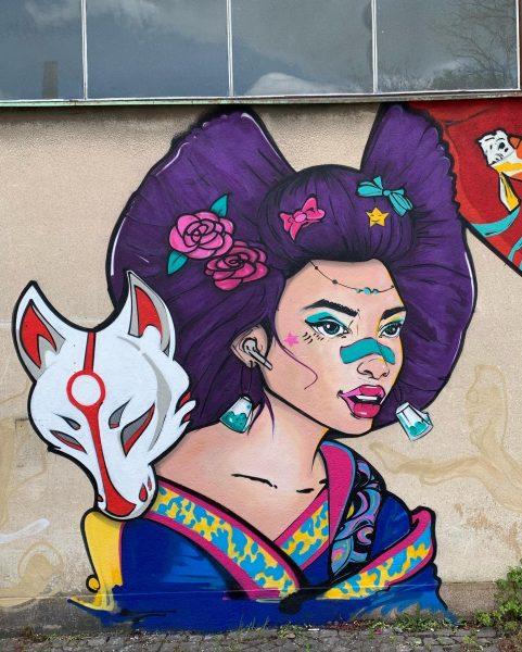 Maľba Geishe pre podnik Samurai Shopt v pražských Holešoviciach, 2021.